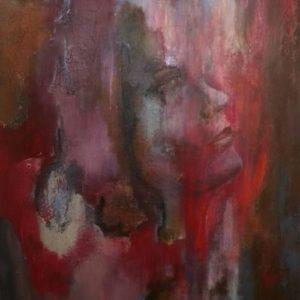 craquele in geabstraheerd portret